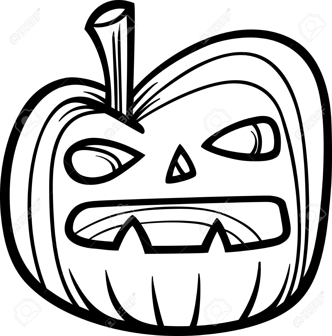 1284x1300 Black And White Cartoon Illustration Of Spooky Halloween Pumpkin
