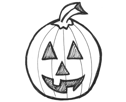 432x350 How To Draw Jack O'Lanterns And Pumpkins With Easy Step By Step