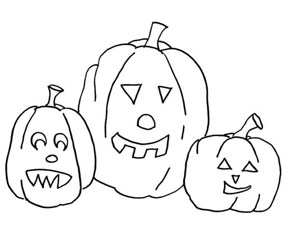 600x474 Pumpkin Halloween Coloring Pages Easy
