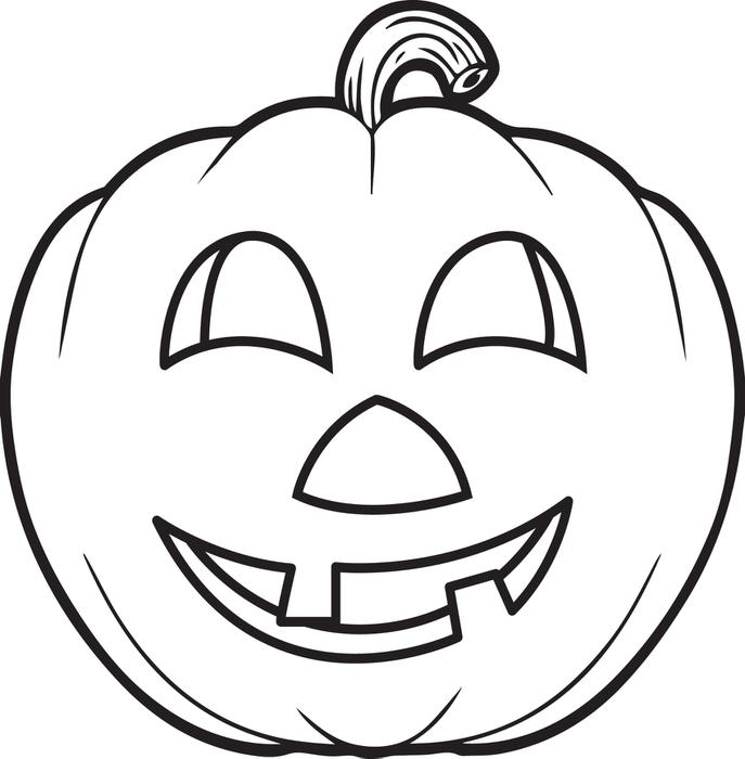 687x700 Free Printable Pumpkin Coloring Page For Kids