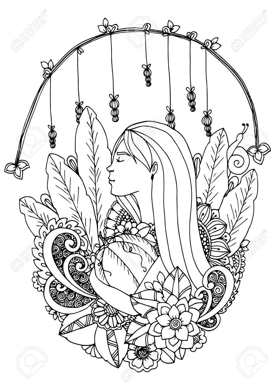 919x1300 Illustration Zentangle Girl With Pumpkin. Doodle Drawing. Coloring
