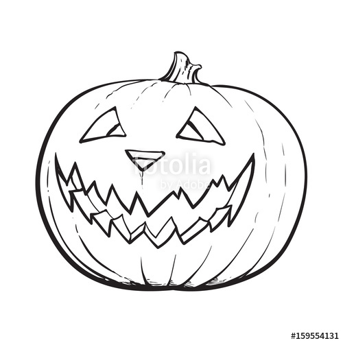 500x500 Black And White Jack O Lantern, Ripe Pumpkin With Carved Scary