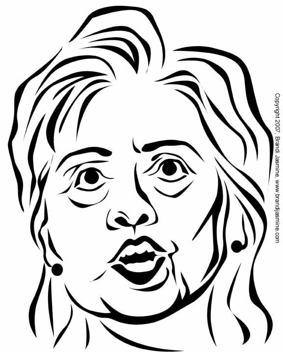 577x718 Hillary Clinton Pumpkin Carving Pattern