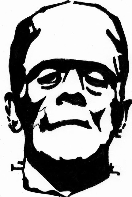 431x640 printable frankenstein pumpkin carving pattern template free