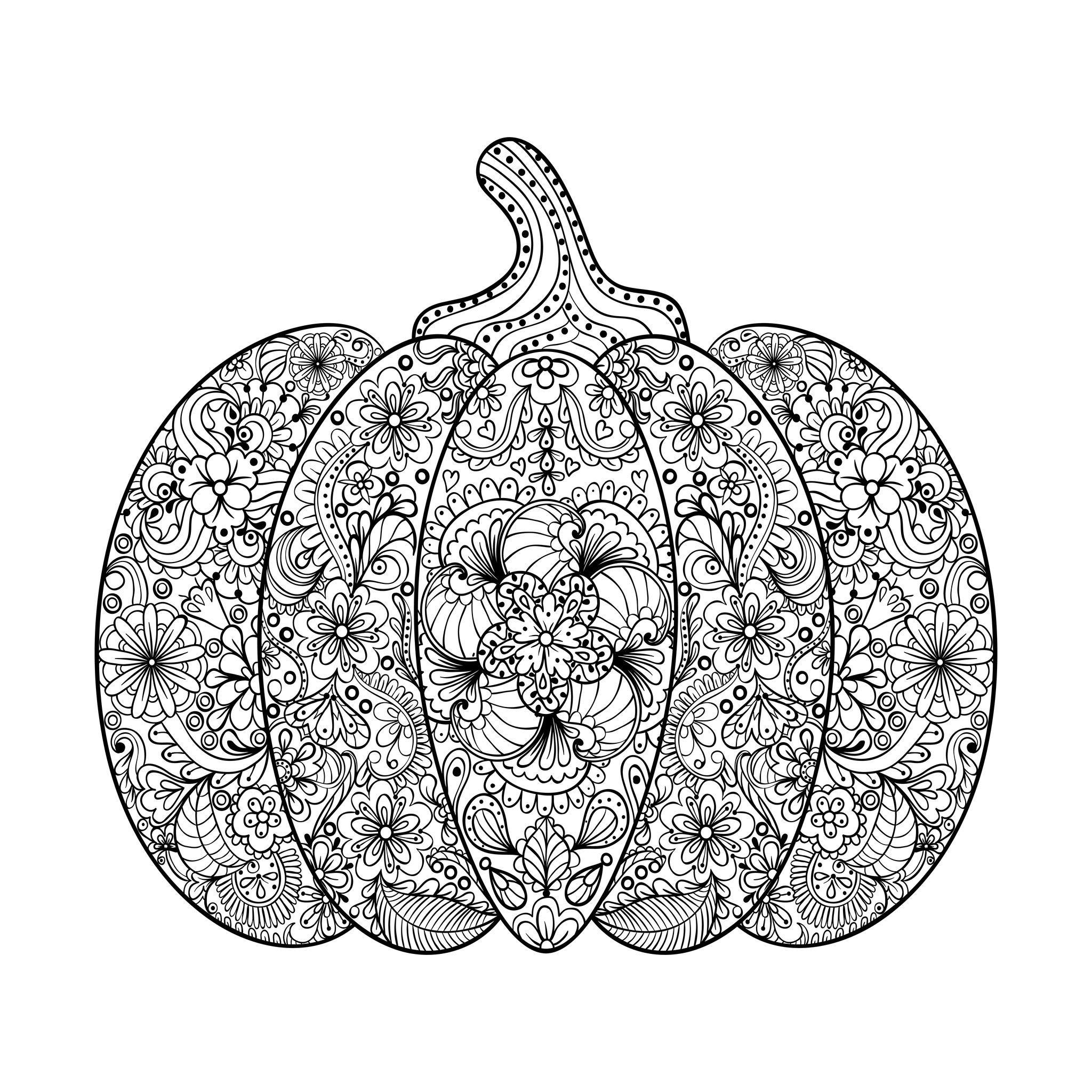 2048x2048 Magnificent Halloween Pumpkin, Filled With Flowered Patterns,