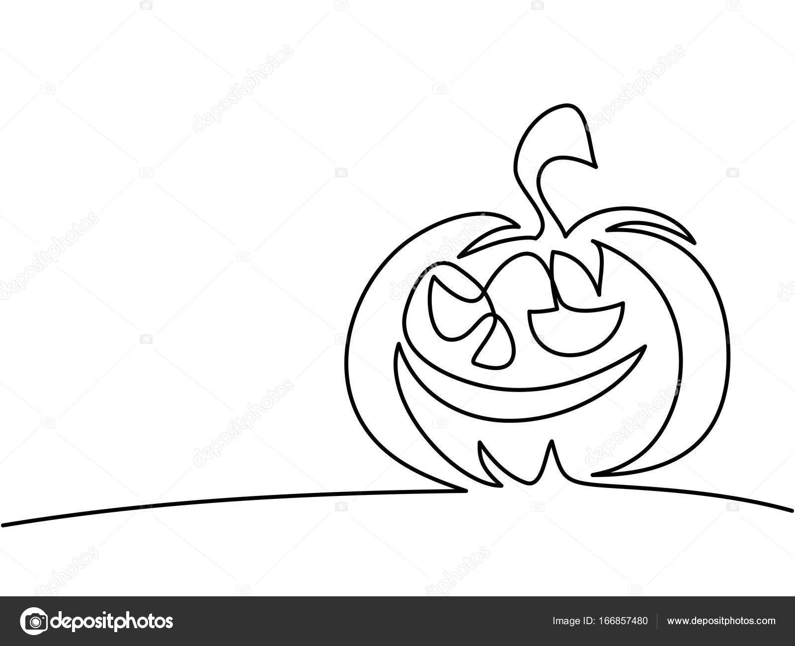 1600x1300 Continuous Line Drawing Of Halloween Pumpkin Stock Vector