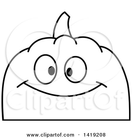 450x470 Clipart Of A Black And White Pumpkin Face Emoji