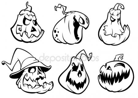 450x321 Halloween Pumpkins Curved With Jack O Lantern Face. Vector Cartoon