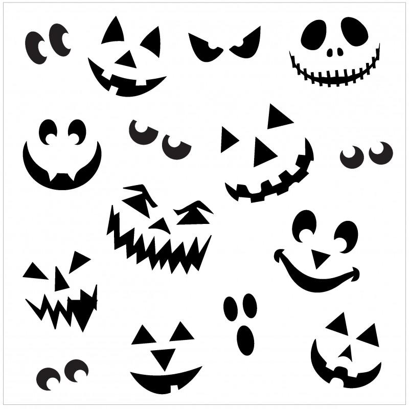 800x800 Pumpkin Face Stencil
