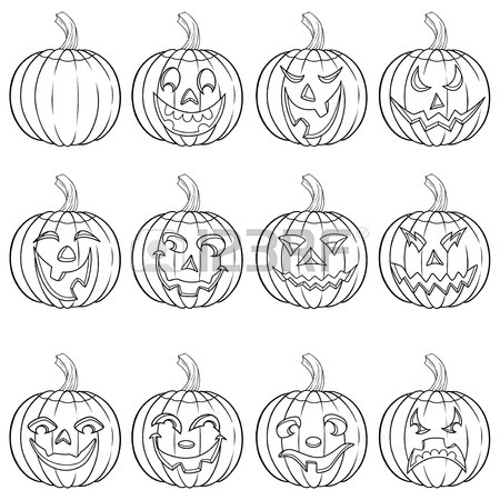 450x450 Set Of Ten Ghost Outline With Various Characters Isolated