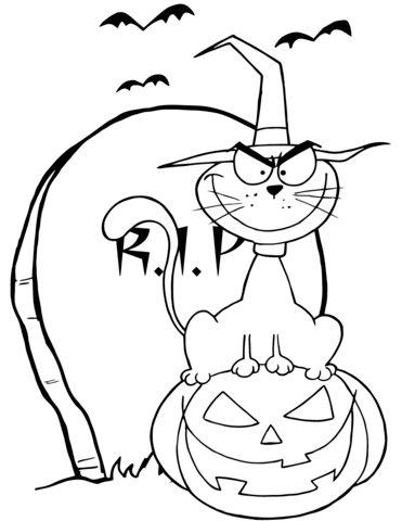 371x480 Halloween Cat On Pumpkin Near Tombstone Coloring Page Free