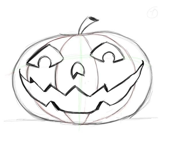 600x500 Simple Pumpkin Drawing Free Design Templates