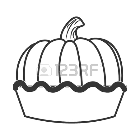 450x450 Delicious Pumpkin Pie Dessert In Black And White Colors, Isolated