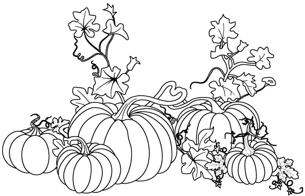 pumpkin and leaves coloring pages - photo#13