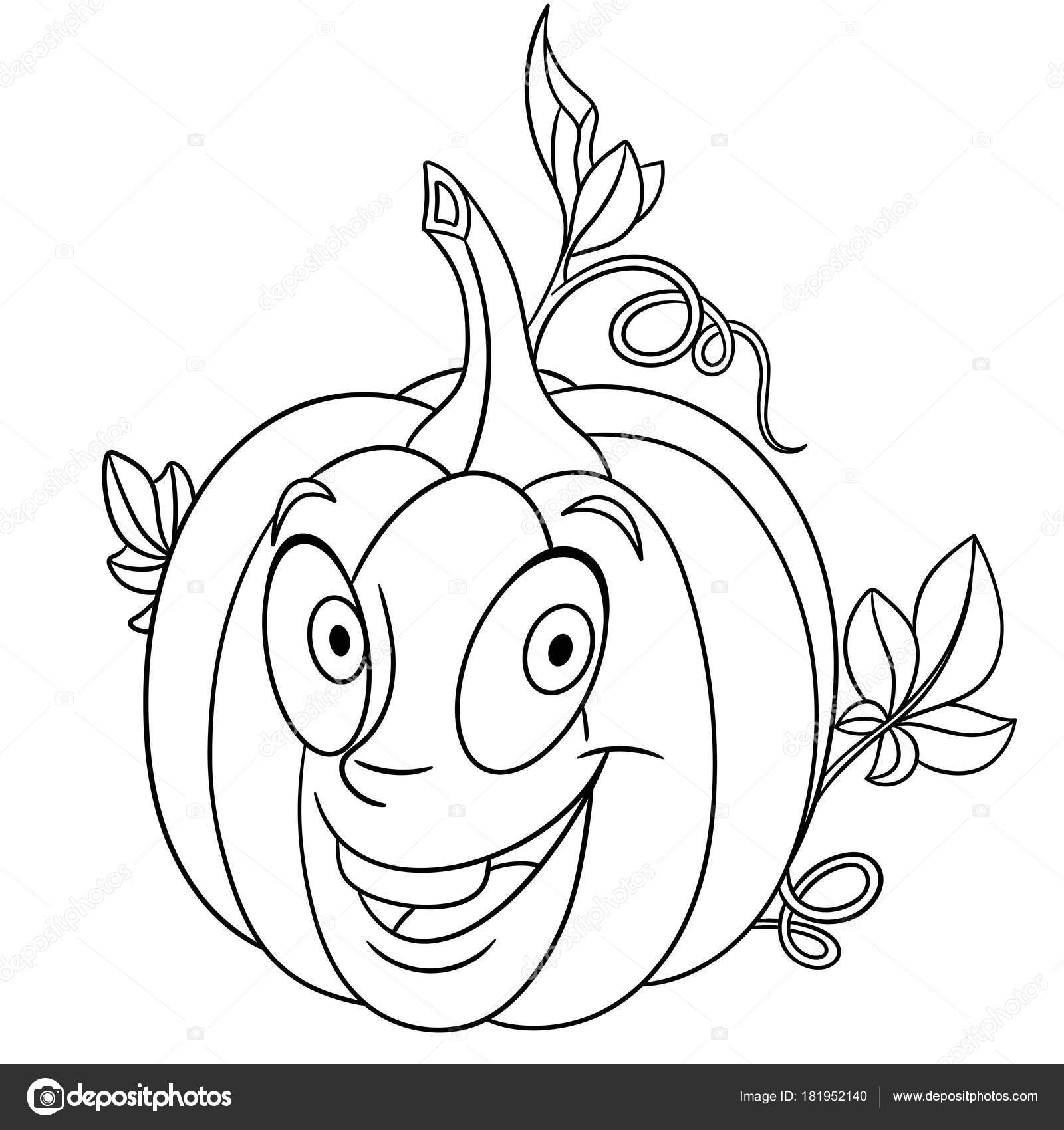 1600x1700 Coloring Page Cartoon Pumpkin Happy Vegetable Character Eco Food