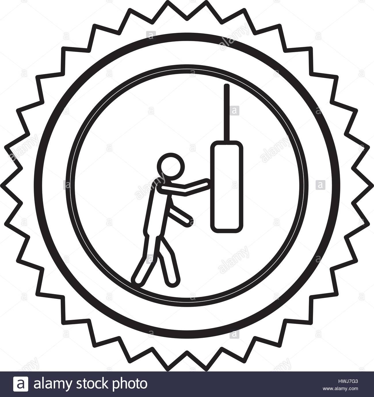 1300x1382 Emblem Person Knocking Punching Bag Stock Vector Art