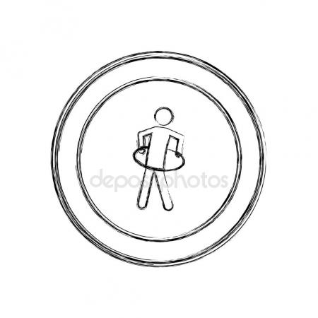 450x450 Monochrome Sketch Of Man Kicking A Punching Bag In Circular Frame
