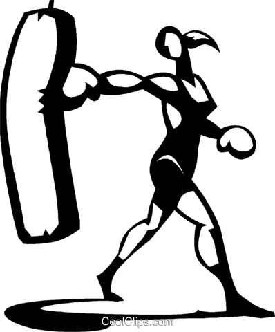 398x480 Woman Working Out With A Punching Bag Royalty Free Vector Clip Art