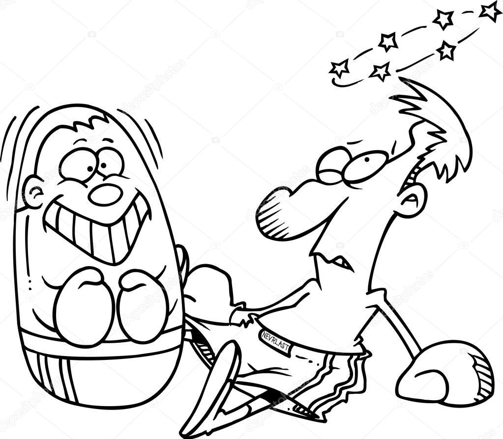 1023x894 Cartoon Punching Bag Knockout Stock Vector Ronleishman