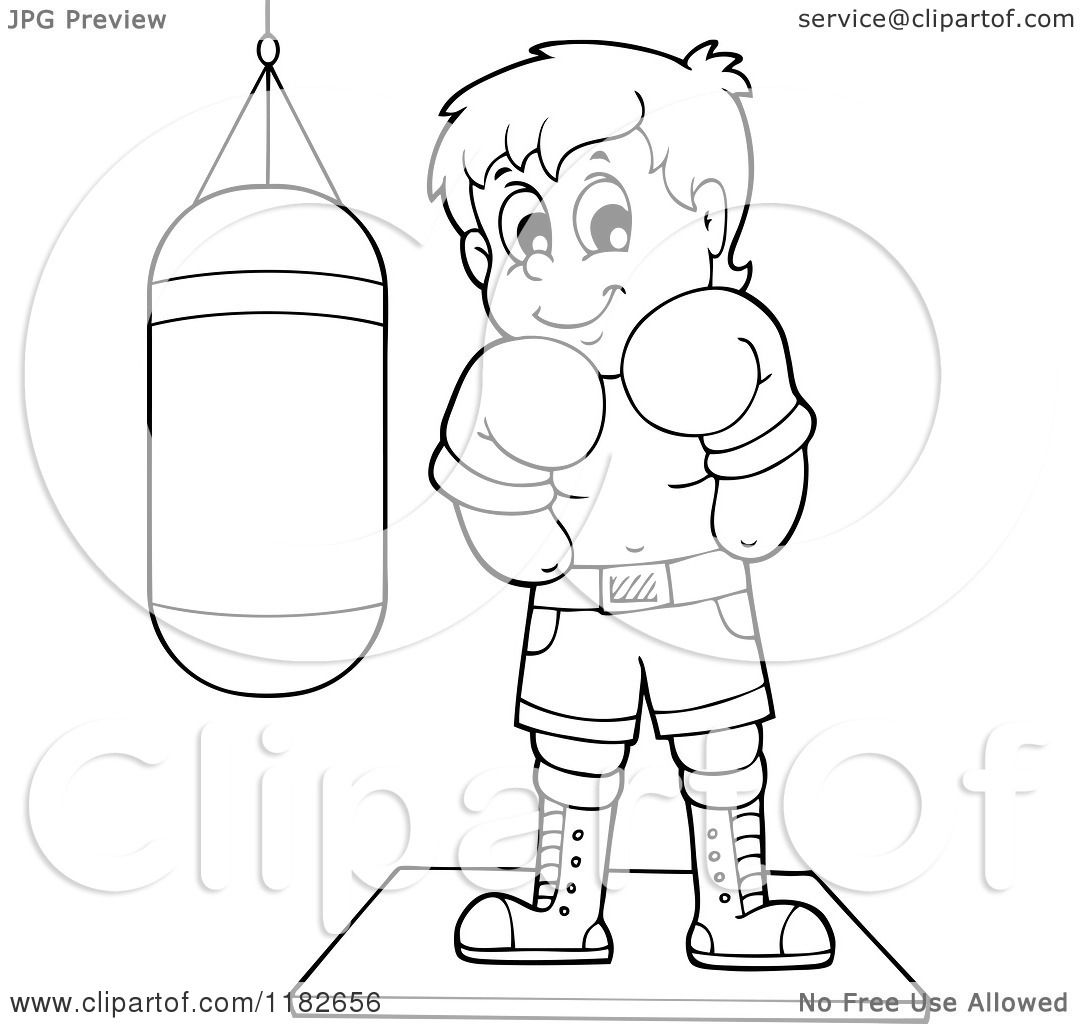 1080x1024 Cartoon Of An Outlined Boxer By A Punching Bag