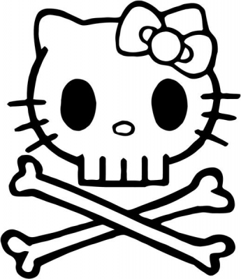 345x400 Kitty Death Skull Punisher Crossbones Vinyl Decal Sticker