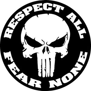 300x300 Punisher Skull Respect All Fear None Vinyl Decal Hood Side For Car