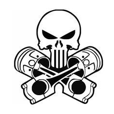 236x236 Punisher Pistons Skull Laptop Car Truck Vinyl Decal Window Sticker