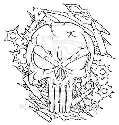 400x422 Punisher Skull Tattoo Design By Ethankraft7379