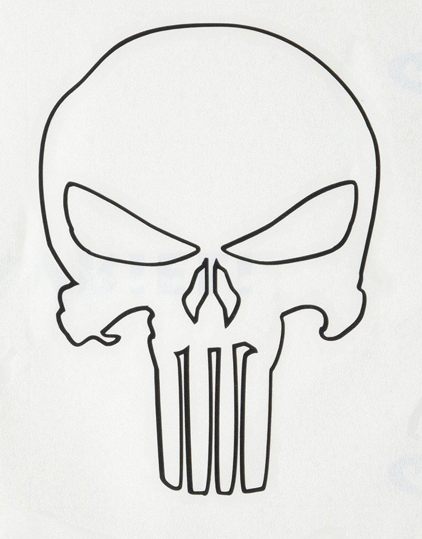1174x1500 The Punisher Skull Outline Black Rub On Sticker Marvel Comics