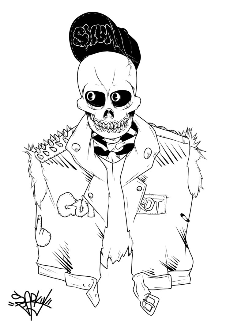 751x1064 Undead Skull Punk By Sparky J