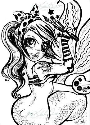 290x400 Pirate Mermaid Artist, Tattoo Punk Rock Original Illustration