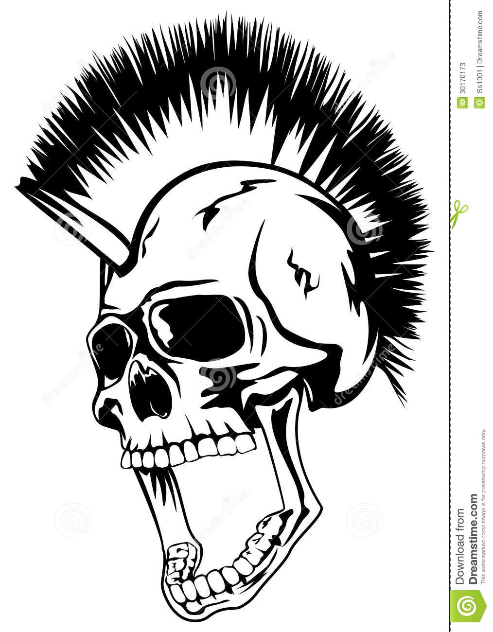 1014x1300 Punk Rock Skull Head Punk Skull Stock Photos