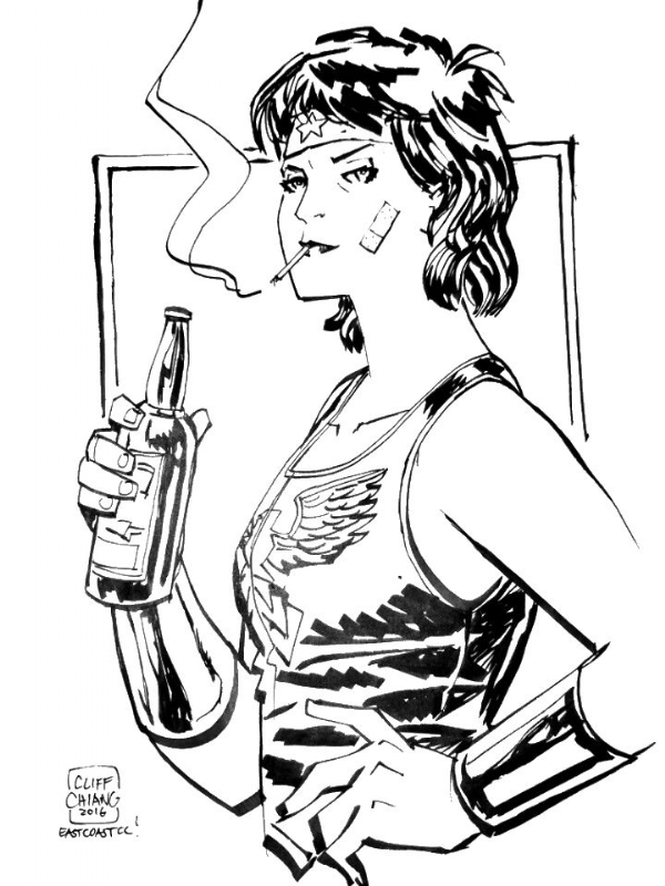 600x800 Punk Rock Wonder Woman Convention Sketch By Cliff Chiang (2016