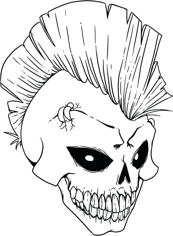 600x816 Skull Punk Rock Coloring Page Size Free Pages Of Day The Dead