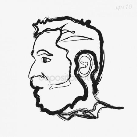 450x450 Vector Drawing Illustration Of Man Face. The Head Of An Adult Man