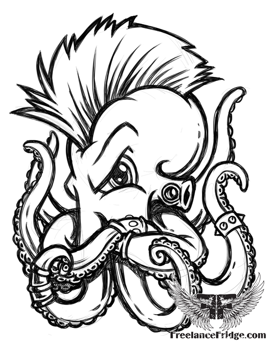 548x700 Mohawk Octopus Freelance Fridge Illustration Amp Character Design