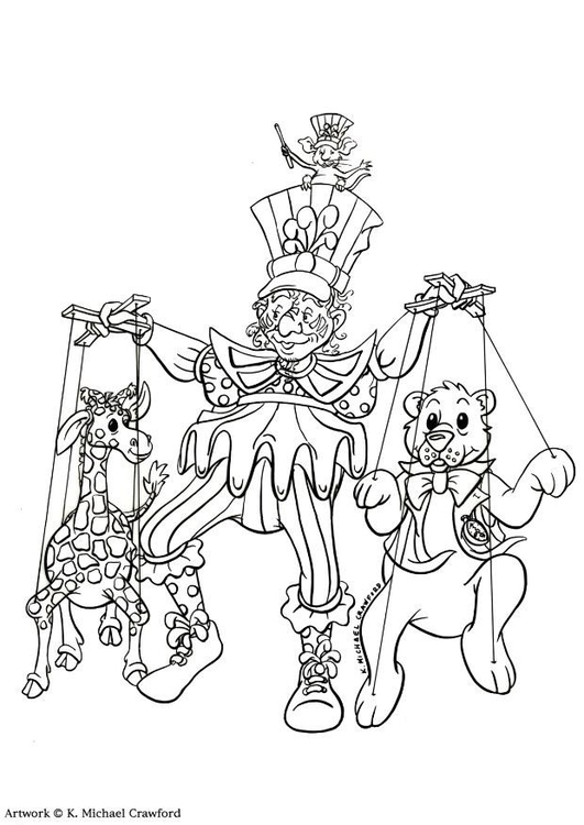 531x750 Coloring Page Puppet Show