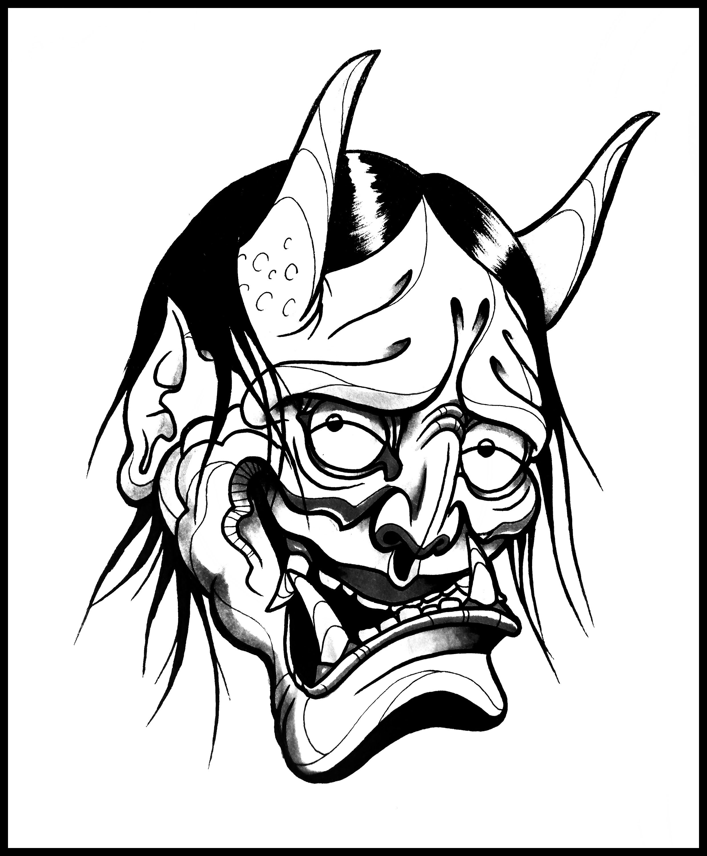 2476x3000 How To Draw A Hannya Demon Mask By Thebrokenpuppet