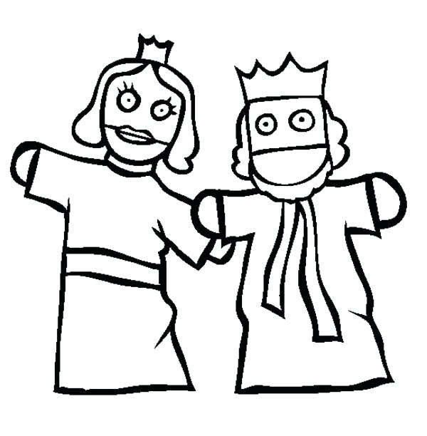 600x612 Puppet Coloring Pages King And Queen Puppet Show Coloring Page