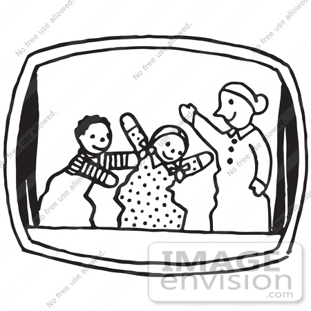 450x450 Clipart Of A Puppet Show In Black And White