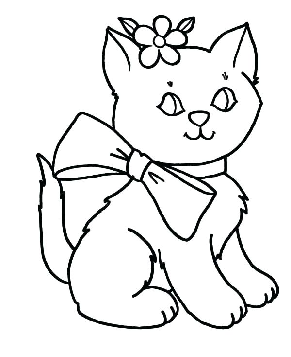 600x734 Cute Kitten Coloring Pages Free Puppy And Kitten Coloring Pages