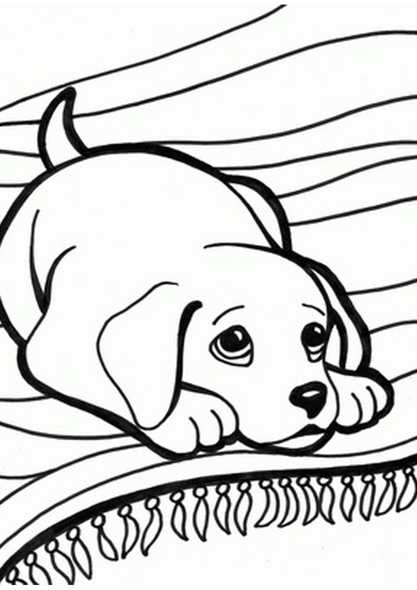 826x1169 Puppy Kitten Coloring Page Free Download