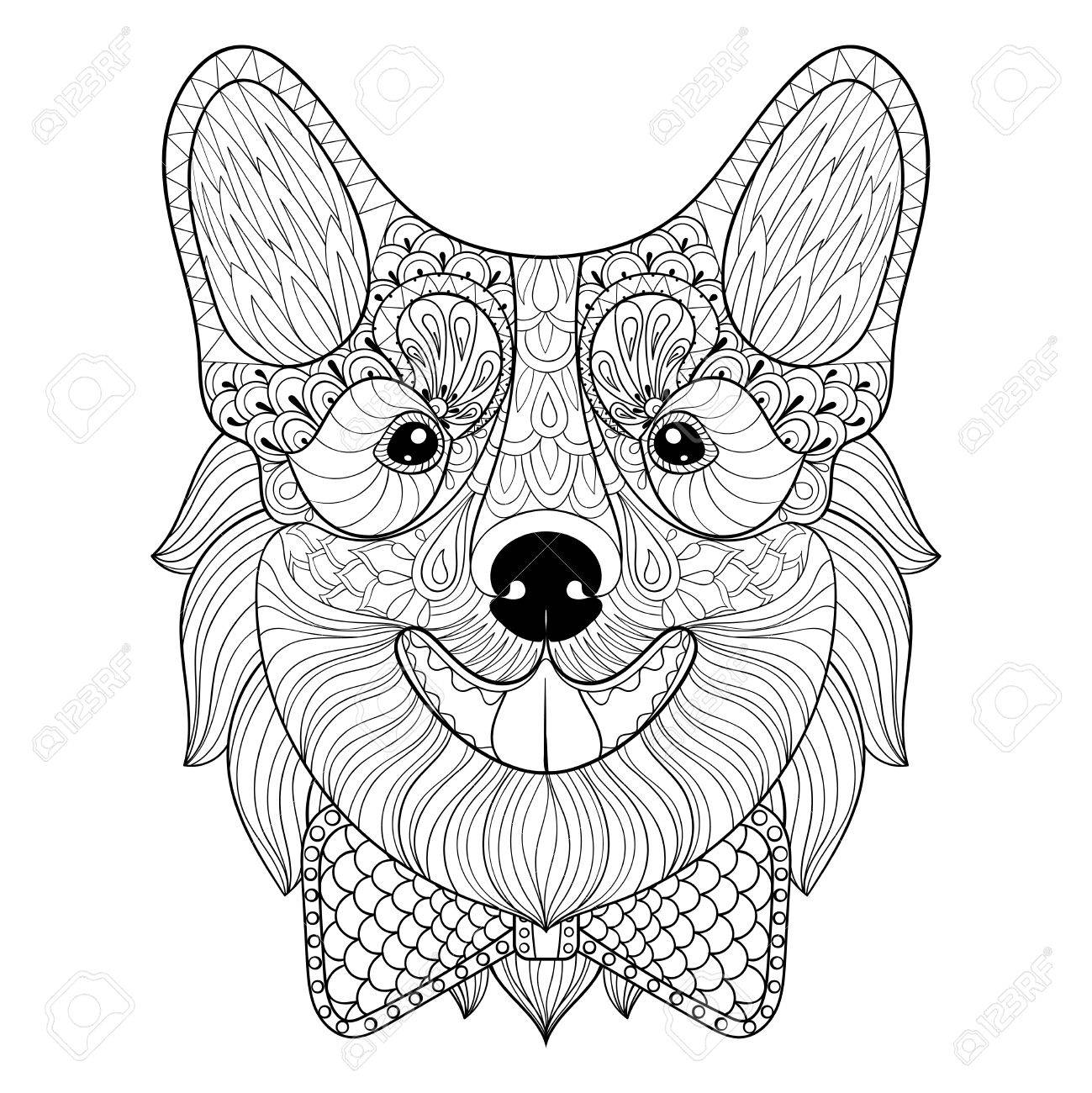 1299x1300 Welsh Corgi With Bow Tie In Monochrome Doodle Style. Puppy