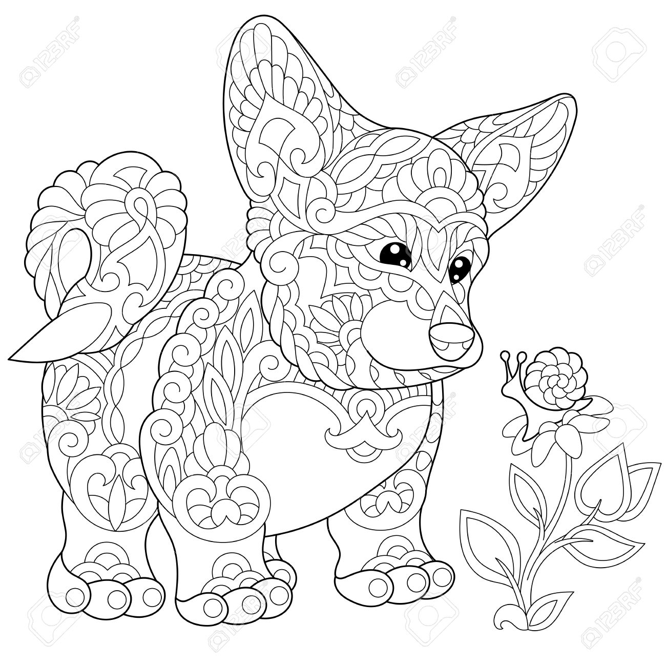 1300x1300 Coloring Page Of Cardigan Welsh Corgi Puppy. Freehand Sketch