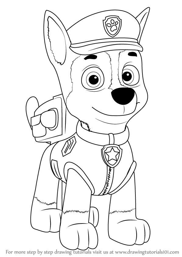 598x844 Learn How To Draw Chase From Paw Patrol (Paw Patrol) Step By Step