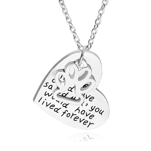 640x640 New Hollow Lettering Necklace Dog Paw Print Heart Pendant Silver