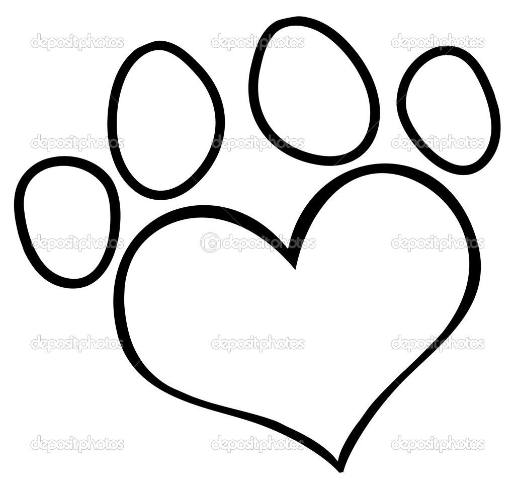 1024x966 Paw Print Outline Dog Paw Heart Clip Art Depositphotos 9793788