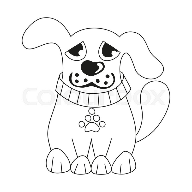 800x800 Cartoon Puppy, Vector Illustration Of Cute Dog Wearing Collar