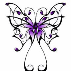 236x236 Purple Butterfly Tattoo With Initial In Bottom Center P