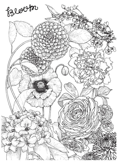 500x684 Yes. Poppy Red, Deep Purple, Light Purple Sketching